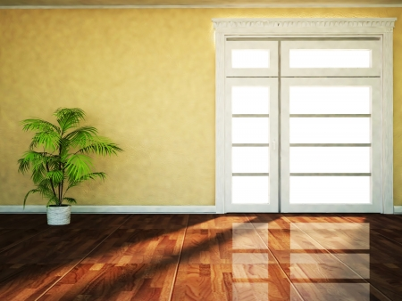 a plant near the window, rendering photo