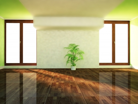 flower structure: two big windows in the room and a plant Stock Photo