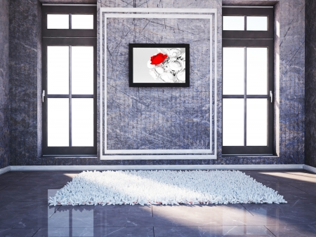 indoor background: empty room with two windows and a carpet, a picture Stock Photo