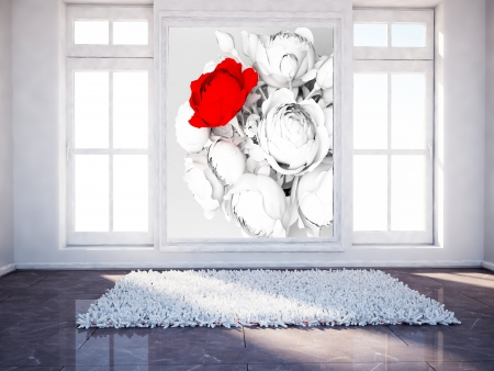 empty room with two windows and a carpet, a picture Zdjęcie Seryjne