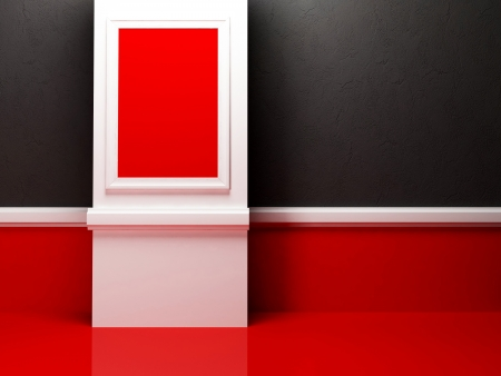 empty room in the contrast colors with a picture, rendering photo