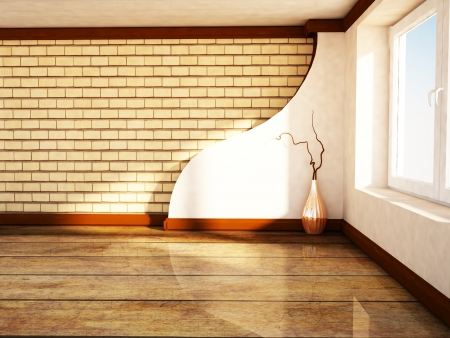 empty room with a large window and a vase, rendering photo
