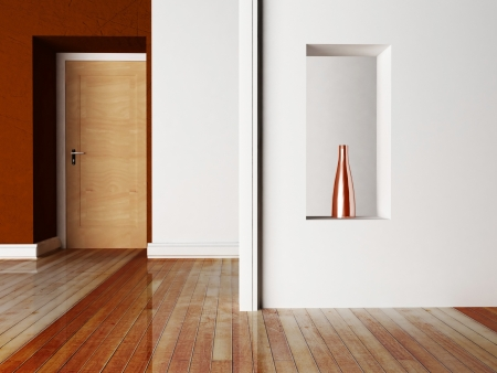 empty room with a door and a niche Stock Photo - 20961809