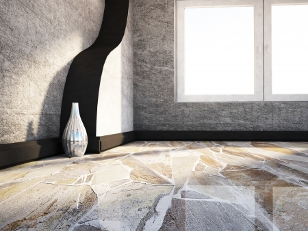 empty room with a large window and a vase, rendering