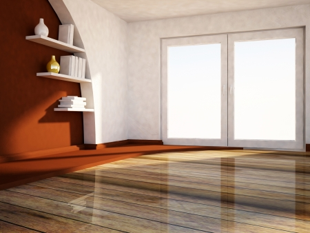 empty room with a big window and the shelves Stock Photo - 22268785