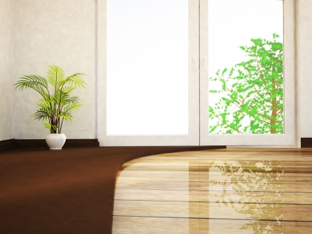 a green plant in the empty room Stock Photo - 22268788
