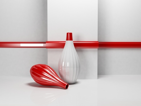 two red vases in the empty room, rendering Stock Photo - 22268790