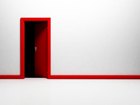 floo: empty room with an open door, rendering Stock Photo