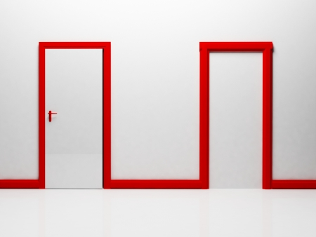 Two doors in the room: the real and the false photo