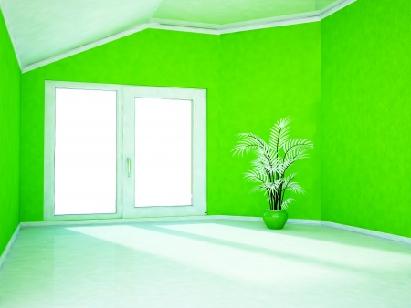 empty room with a big window and a plant Stock Photo - 22268856