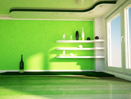 celling: interior design scene with a window, the shelves, the vases Stock Photo