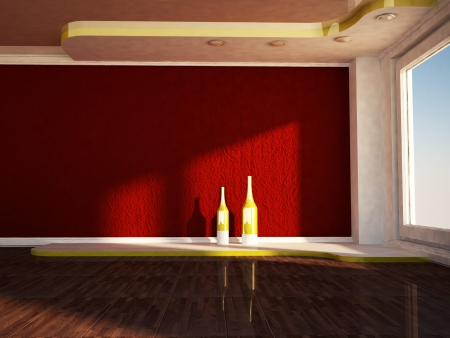 celling: interior design scene with a window, the podium, two vases