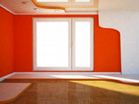 celling: interior design scene with a window, the podium,  Stock Photo