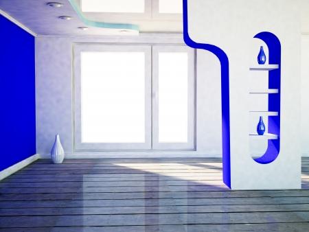 celling: interior design scene with a window, the podium, the vase