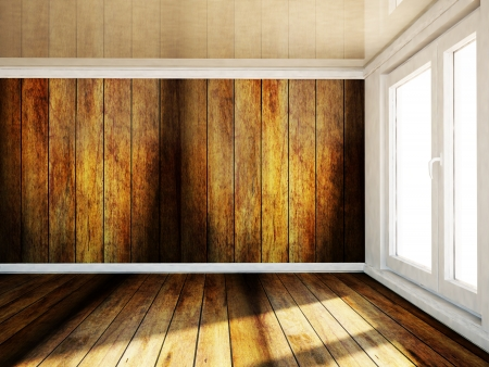 celling: empty room with a big window in warm colors