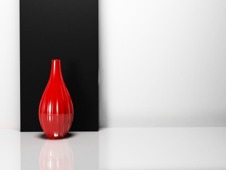 a red vase in the  room, rendering photo