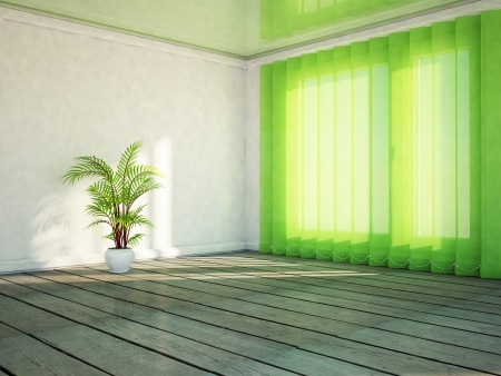 celling: a green plant in the room, rendering Stock Photo