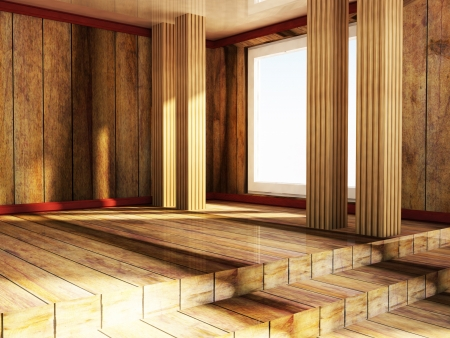celling: empty attic wooden room, rendering Stock Photo