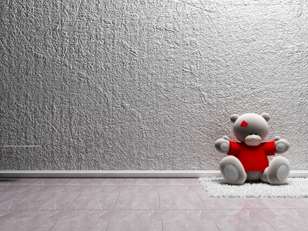 front room: teddy bear is sitting on the white carpet Stock Photo