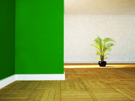 vase plaster: a green plant in the empty room, rendering