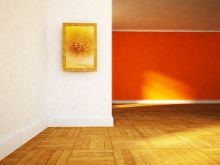 empty room in orange colors with the picture photo