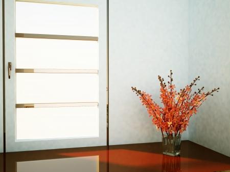 single shelf: a vase with the  flowers near the window Stock Photo