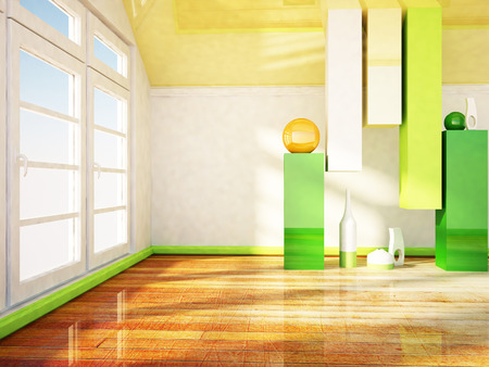 clean floor: a room with a  big window and the vases Stock Photo