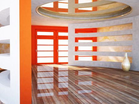 celling: bright room with the interesting constructions and a vase