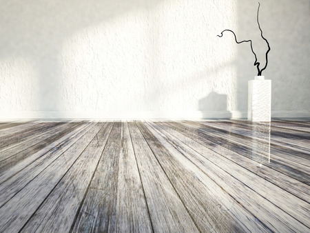 empty  room with the vase on the floor