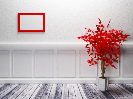 a red plant is standing in the room photo