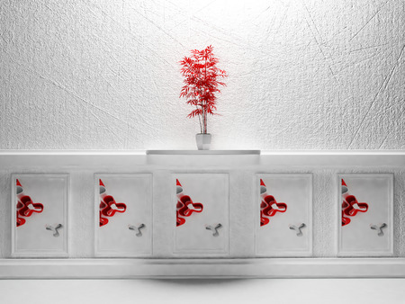a red plant is standing on the shelf photo