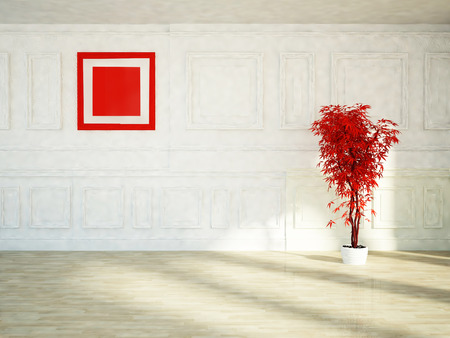 a green plant and a red picture photo