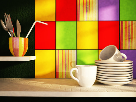 plates with cups on the kitchen table photo