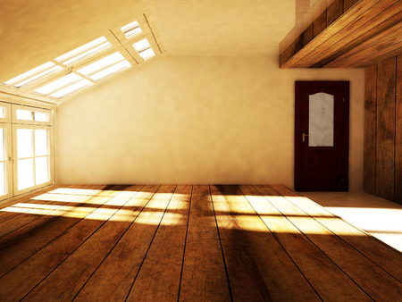 an empty attic  with the window, rendering photo