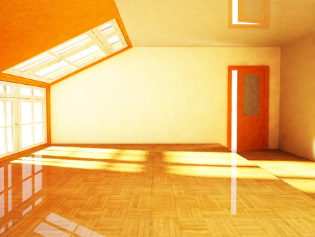 conversion: an empty attic  with the window, rendering Stock Photo