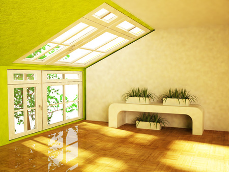 room with the green plants, rendering photo