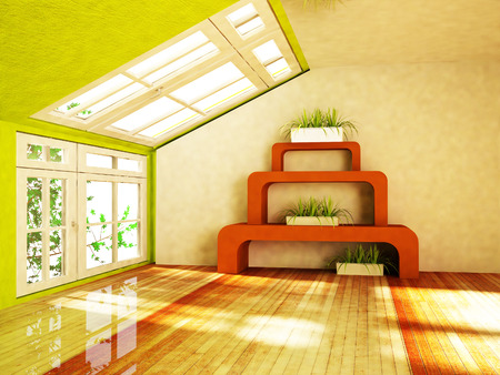 room with green plants, rendering photo