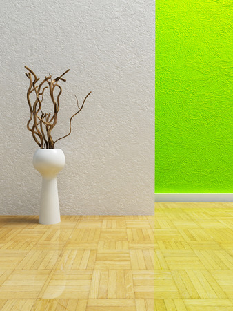 plinth: a white vase with the branches in the room