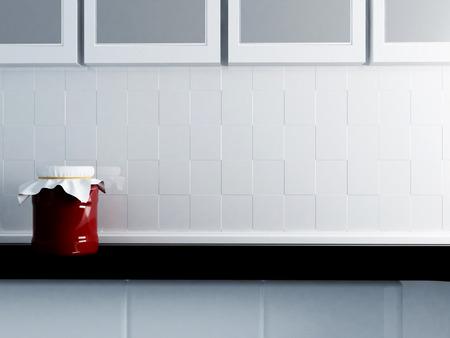 jam-jar on the countertop. Part of the kitchen interior Standard-Bild