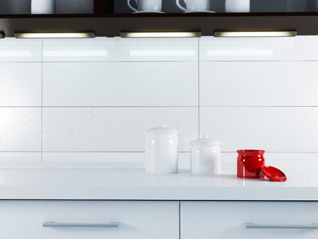 ambry: a part of white kitchen interior, rendering