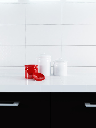 ambry:  jars are on the countertop