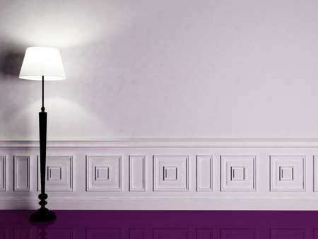 violet residential: a nice floor lamp on the violet floor Stock Photo