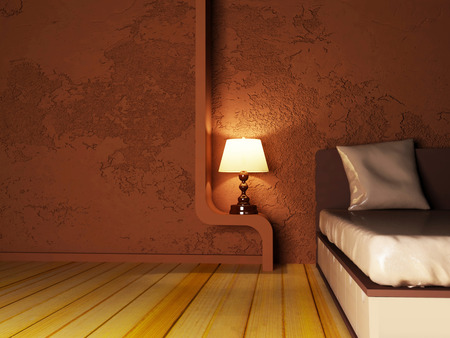 a lamp near the bed, rendering photo
