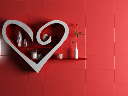 creative shelf in a form of heart, rendering photo