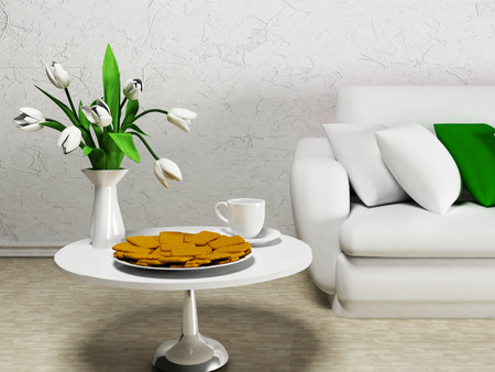 interior design living room: white flowers on the table, rendering