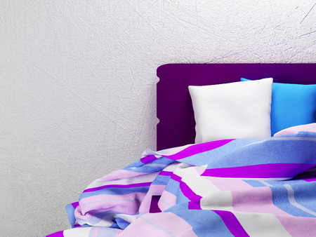 home confort: striped sheets on the bed, rendering