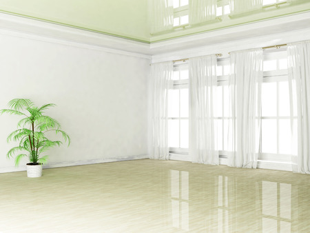 celling: empty room with a plant and a window, 3D rendering