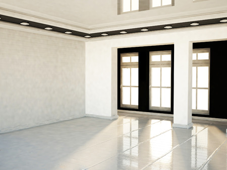 celling: empty room with contrast colors, 3D rendering