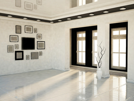 shiny floor: many pictures on the wall and the window, 3D rendering