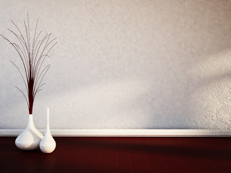 two white vases on the wooden floor